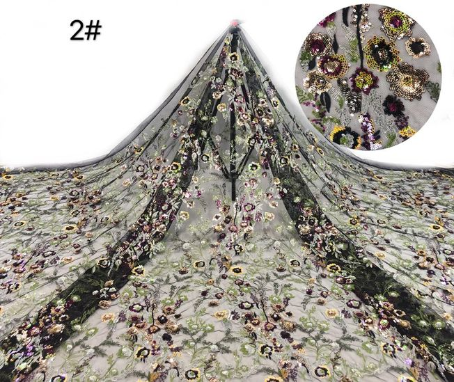 High Quality French Tulle Sequins Fabric 272