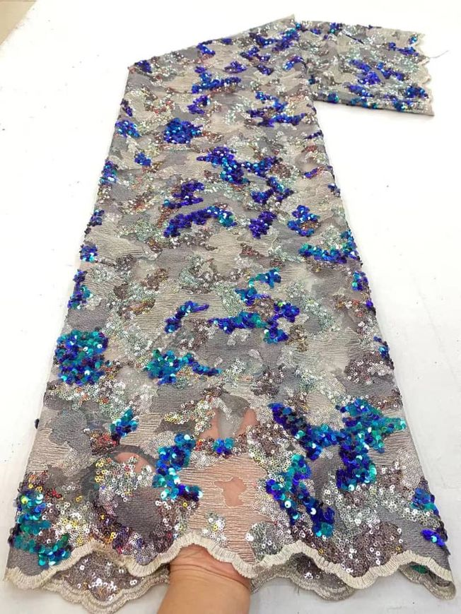 High Quality Sequins Tulle Fabric Material 005
