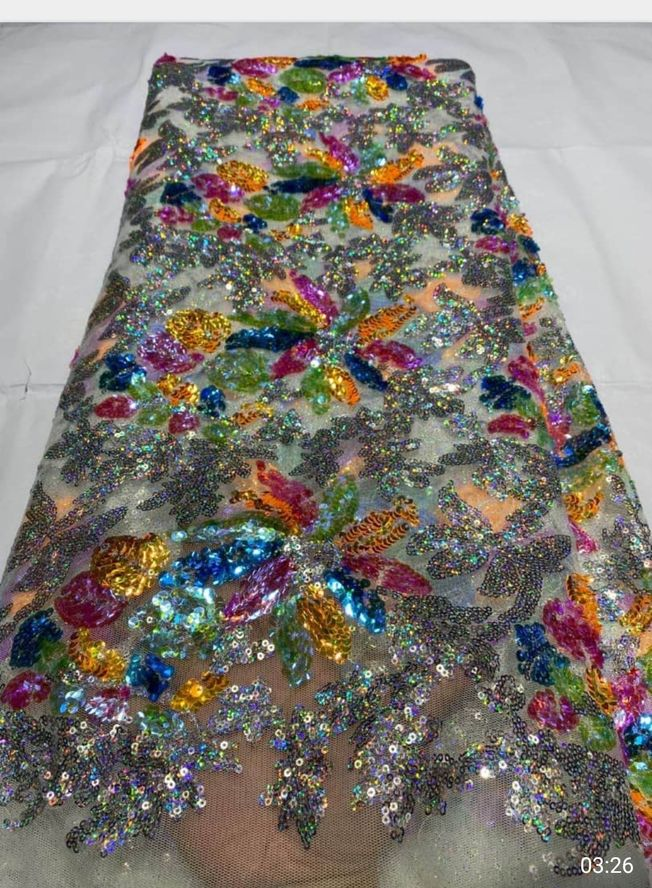 High Quality Tulle Sequins Fabric Material 047