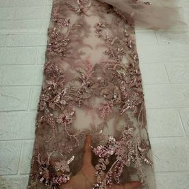 High Quality Hand beaded Tulle Fabric 317