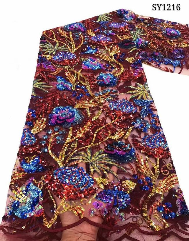High Quality Embroidered Sequins Fabric 097
