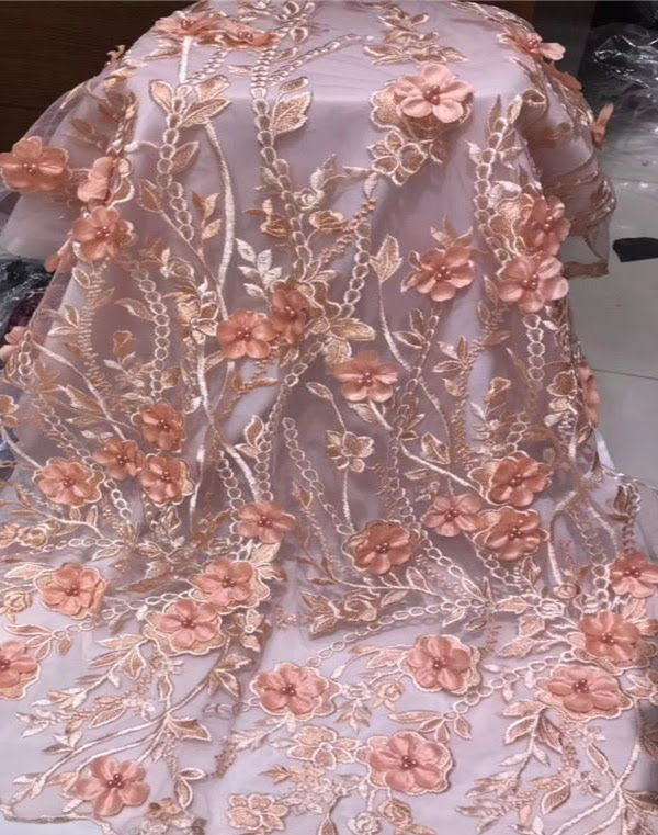 High end Embroidered Flowered French Tulle Fabric 004