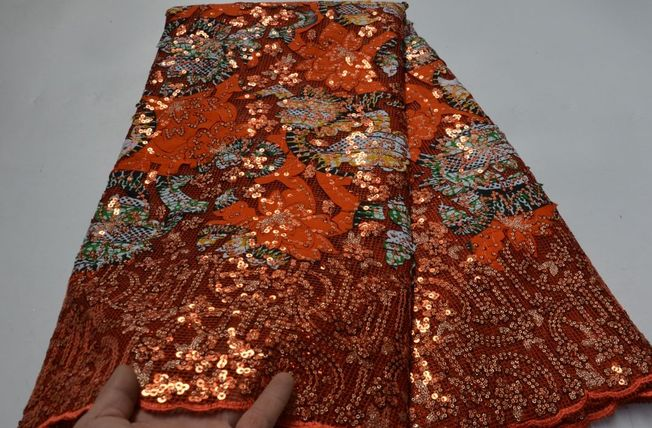 High Quality Sequins Fabric Material 130
